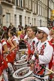 Drummers from Batala Banda de Percussao Royalty Free Stock Photo