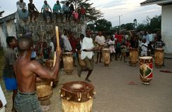 Drummers in Burundi. Royalty Free Stock Photography
