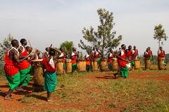 Drummers of Burundi. Drummers of the gishora drumming group Royalty Free Stock Photos