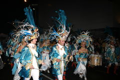 Drummers in costumes at the Grand Carnival Parade Royalty Free Stock Photography