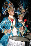 Drummers in costumes at the Grand Carnival Parade Royalty Free Stock Images