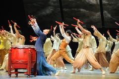 The drummers dance.-The third act of dance drama-Shawan events of the past Stock Photos