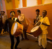 Drummers (Dholi) at Durga Festival, Kolkata Stock Photography