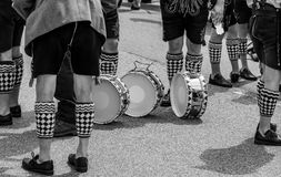 Drummers have put their drums on the floor stock image
