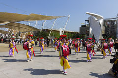 Drummers on the Japanese traditional parade on EXPO 2015 Stock Photography