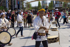 Drummers on the Japanese traditional parade on EXPO 2015 Stock Photos