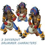 3 drummers is knocking. vector illustration