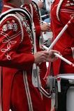 Drummers in marching band stock image