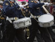 Drummers in a Marching Band Royalty Free Stock Photo