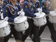 Drummers in a Marching Band Stock Photography