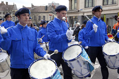 Drummers marching, Belgium Royalty Free Stock Photos