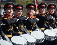 Drummers of the Moscow military music school in red square during the General rehearsal of the parade dedicated  anniversary of th Stock Image