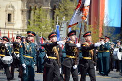 Drummers of the Moscow military music school in red square during the General rehearsal of the parade dedicated  anniversary of th Stock Photo