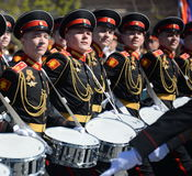 Drummers of the Moscow military music school in red square during the General rehearsal of the parade dedicated  anniversary of th Royalty Free Stock Photo