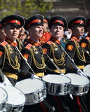 Drummers of the Moscow military music school in red square during the General rehearsal of the parade dedicated  anniversary of th Royalty Free Stock Photos