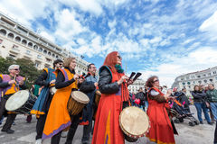 Drummers and musicians playing traditional music Stock Photo