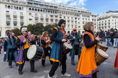 Drummers and musicians playing traditional music Royalty Free Stock Images