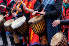 Drummers and musicians playing traditional music Royalty Free Stock Photography
