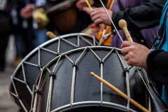Drummers and musicians playing traditional music Stock Images