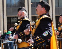 Drummers in New York's St. Patrick's Day Parade. Drummers march down 5th Avenue in the New York City Saint Patrick's Day Parade Stock Photography