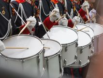 Drummers participate in parade Royalty Free Stock Images