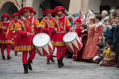 Drummers play at the medieval festival Stock Image