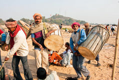 Drummers play music in desert village Royalty Free Stock Photo