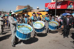 Drummers play music on festival in Bolivia Stock Images
