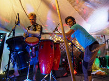 Drummers playing drums on stage Royalty Free Stock Image