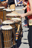 Drummers playing at a Saturday market Penticton, British Columbi Royalty Free Stock Photography