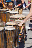 Drummers playing at a Saturday market Stock Photos