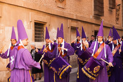 Drummers at Semana Santa in Murcia Stock Images