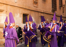 Drummers at Semana Santa in Murcia. Royalty Free Stock Images