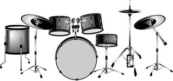 Drummers set ready... isolated illustration.. Drum set, ready to play and he heard in it's own beat Stock Photography