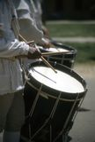 Drummers in white colonial uniforms Royalty Free Stock Image