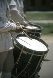 Drummers in white colonial uniforms Stock Image