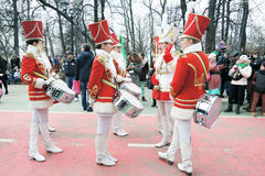 Drummers women band. MOSCOW - MARCH 18, 2017: Drummers women band  at Saint Patrick`s Day celebration in Moscow. Sokolniki park. Color photo Stock Image