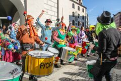 Drumming band playing at Munich`s carnival party