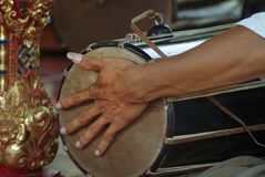 Drumming In A Balinese Gamelan Orchestra Stock Images