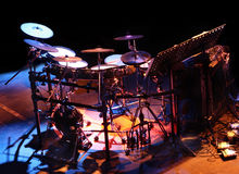 Drums. On stage under various colorful beams of light Royalty Free Stock Images