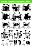 Drums. Illustration collection including several vector silhouettes of acoustic and electronic drumkits, percussion sets and accessories, all editable with EPS royalty free illustration