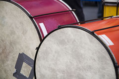Drums. Two grungy old drums, which have clearly seen a lot of use Royalty Free Stock Images
