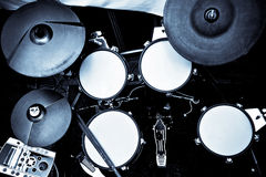 Drums. Set of new electric drums in high contrast blue royalty free stock image