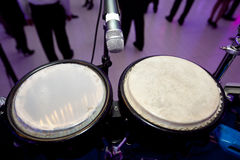 Drums. A image of a set of drums also known as bongos and people in the background Royalty Free Stock Image