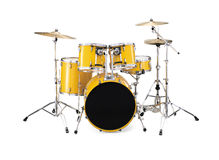 Drums. Drum kit isolated over white background royalty free stock image