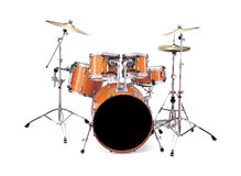 Drums. Drum kit isolated over a white background Stock Photos
