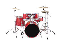 Drums. Red drums kit over a white background Stock Photography