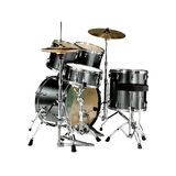 Drums. Black drumkit isolated over white Royalty Free Stock Images