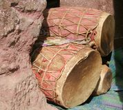 Drums. Ceremonial Drums tucked into a corner of an old rock church in Lalibela, Ethiopia Stock Images