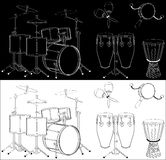 Drums. Percussion instruments set isolated on black and white background Royalty Free Stock Photo